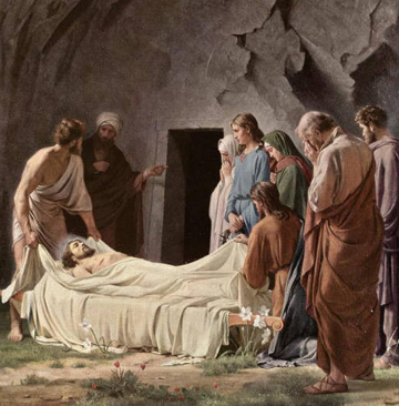 Preparation of Christs body for tomb