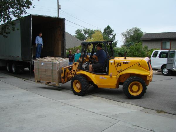 Pallet of Books on Forklift